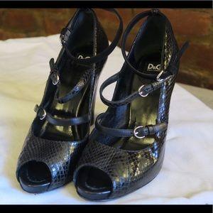 D&G - Black Snakeskin Leather Heels (size 37)